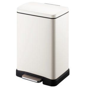 פח אשפה מלבני למטבח 30 ליטר לבן סגירה שקטה