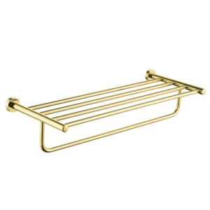 """מדף מגבות אמבטיה 60 ס""""מ VOLTA זהב מט"""
