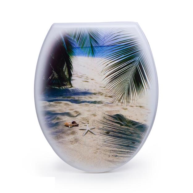 מושב אסלה מעוצב ציר נשלף דגם חוף הים