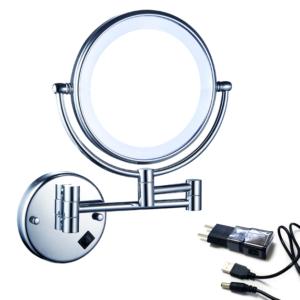 מראה מגדילה פי 5 או פי 7 לקיר עם תאורת לד נטענת Z494