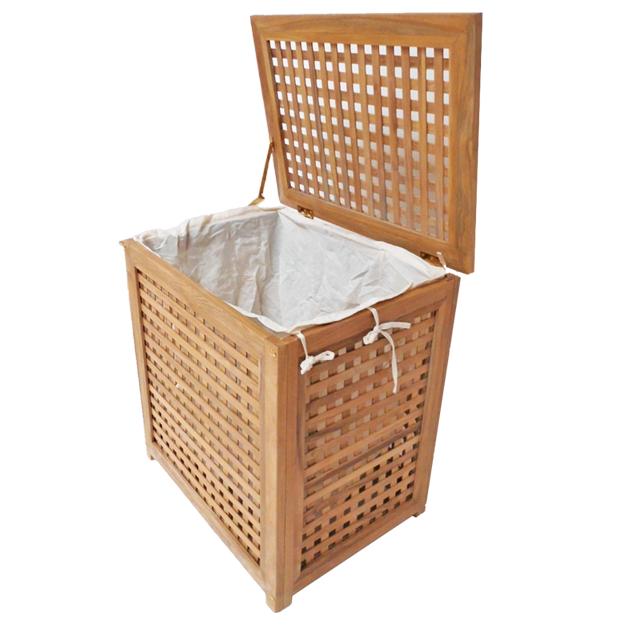 """סל כביסה עץ טיק מלא לאמבטיה קטן 55x35x55 ס""""מ"""