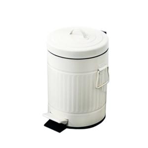 פח אשפה עגול 3 ליטר רטרו לבן טריקה שקטה