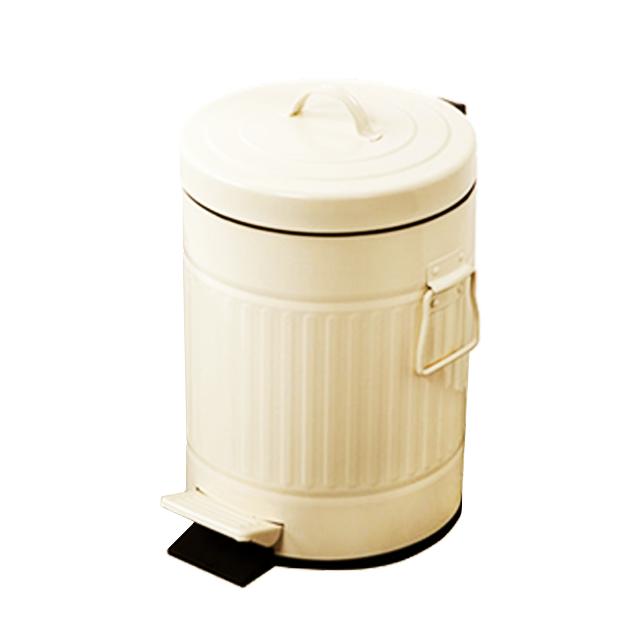 פח אשפה עגול 3 ליטר רטרו שמנת טריקה שקטה