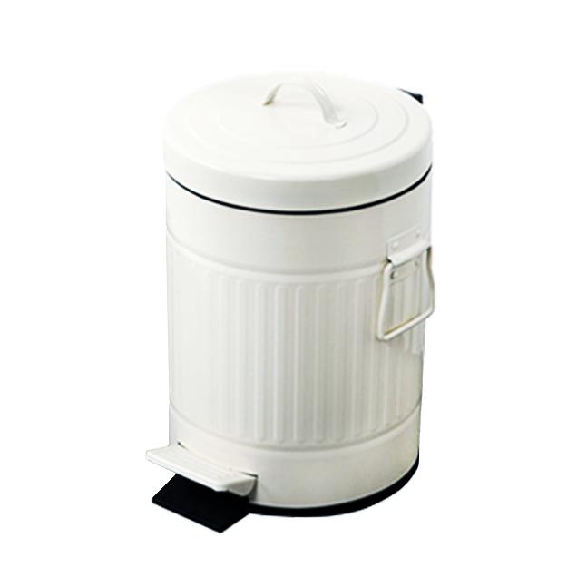 פח אשפה רטרו עגול 5 ליטר לבן סגירה שקטה
