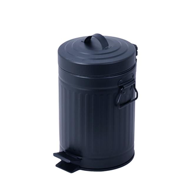 פח אשפה רטרו עגול 5 ליטר שחור סגירה שקטה