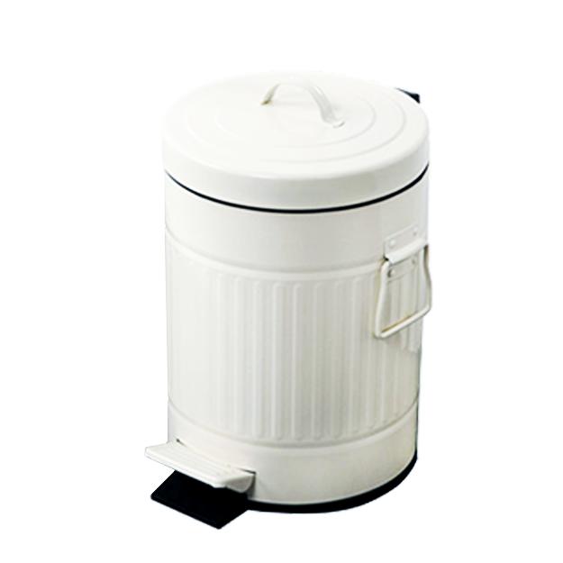 פח אשפה 20 ליטר רטרו עגול לבן סגירה שקטה