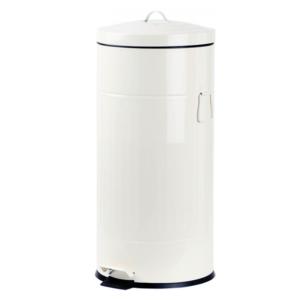 פח אשפה 30 ליטר רטרו עגול לבן סגירה שקטה