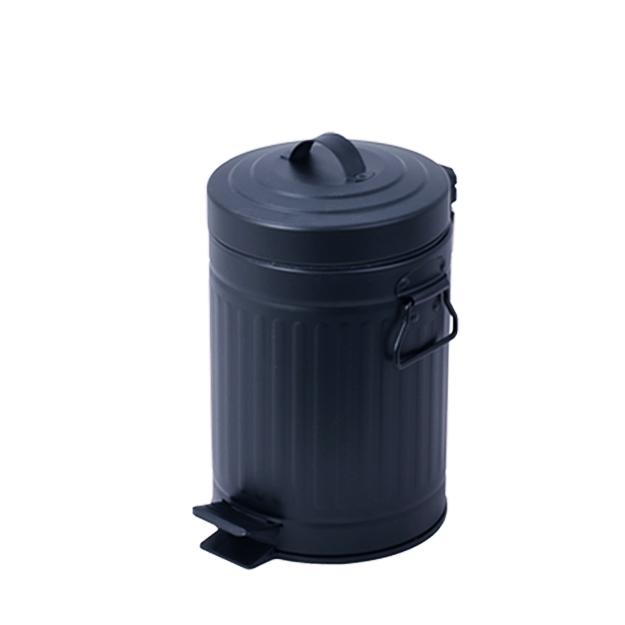 פח אשפה עגול 3 ליטר רטרו שחור טריקה שקטה
