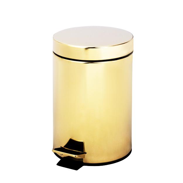 פח אשפה 3 ליטר עגול GOLDY זהב מט סגירה שקטה