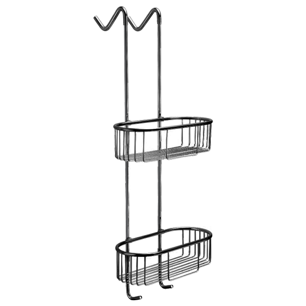 מדף רשת מעוגל לתליה על מקלחון שחור