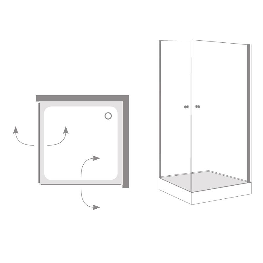 מקלחון פינתי 2 דלתות