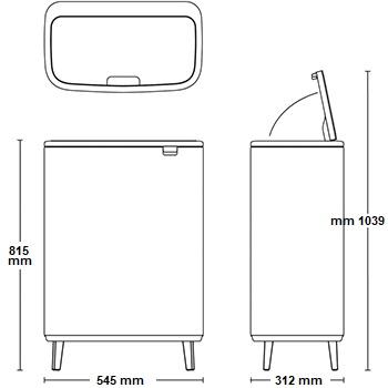 פח אשפה למטבח 60 ליטר BO BRABANTIA אפור בטון מינרלי 1