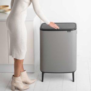 פח אשפה למטבח 60 ליטר BO BRABANTIA אפור בטון מינרלי