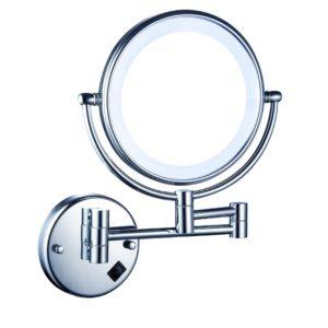 מראה מגדילה פי 5 פי 7 או פי 10 עם תאורת לד בטרייה לקיר ניקל מבריק
