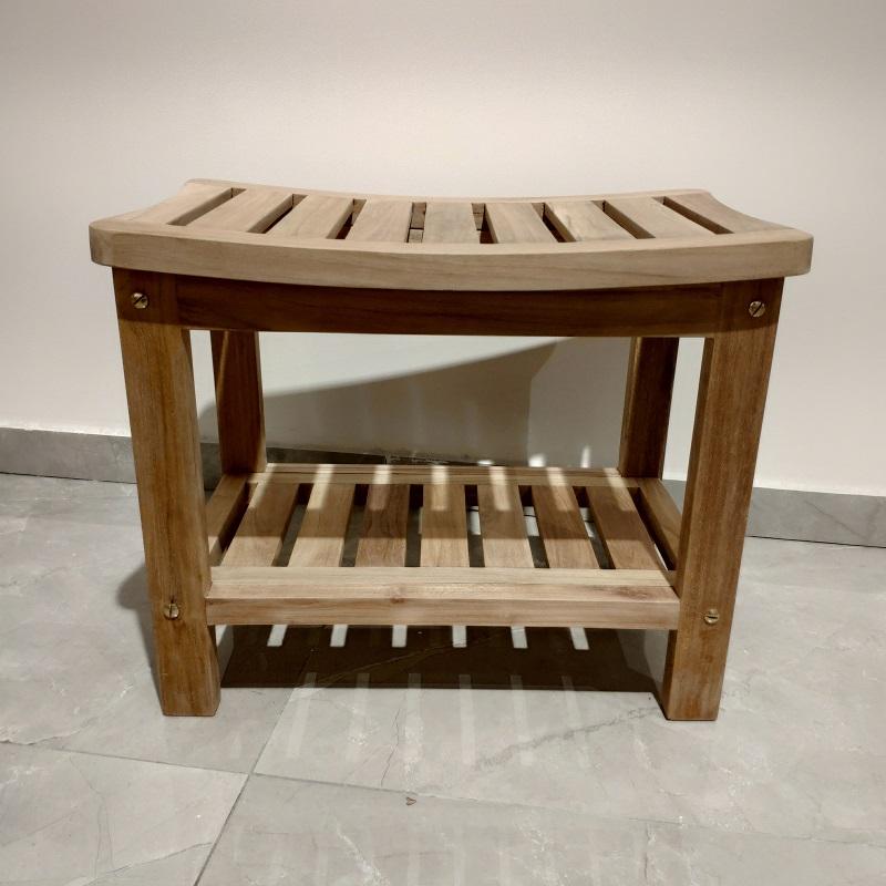 ספסל עץ טיק למקלחת