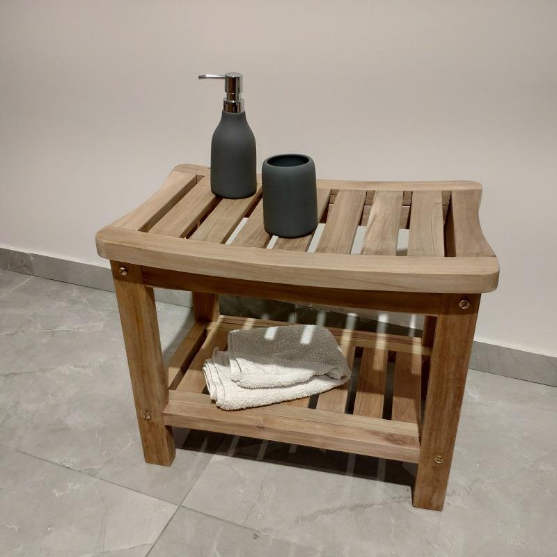 ספסל טיק למקלחת