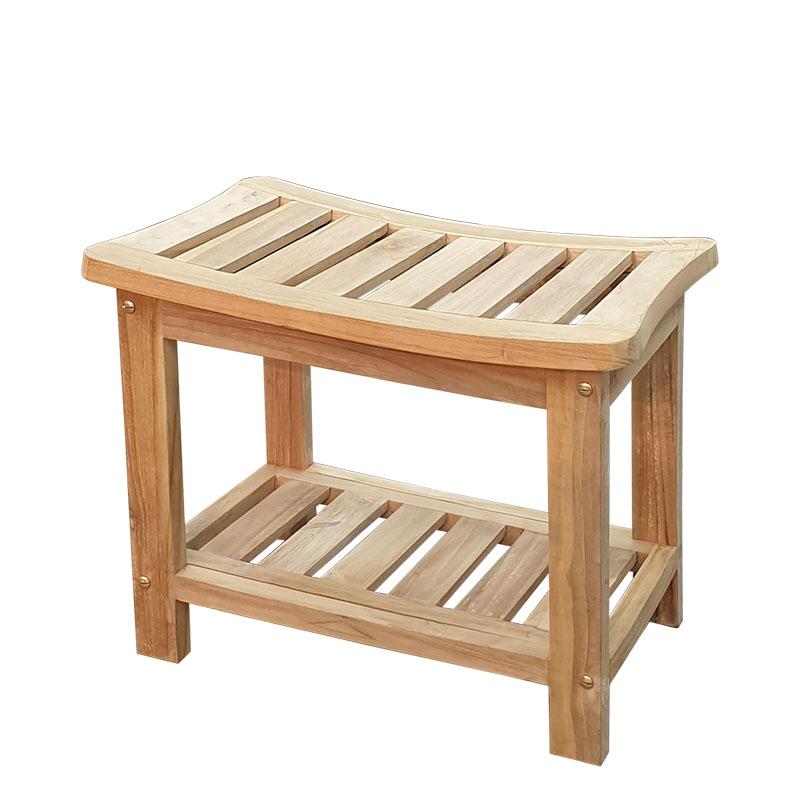 """ספסל למקלחת עץ טיק 55 ס""""מ מלבני"""