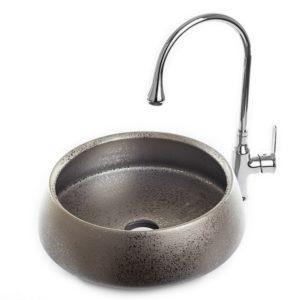 """כיור אמבטיה מונח עגול קוני 41 ס""""מ כסף מט"""