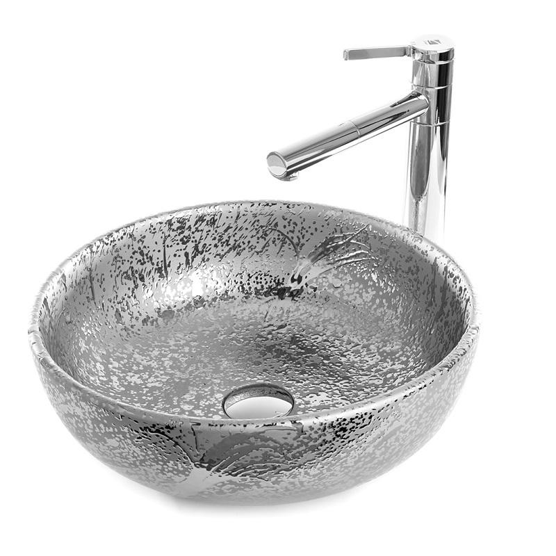 """כיור אמבטיה חרס מונח ניקל וכסף עגול 41 ס""""מ"""