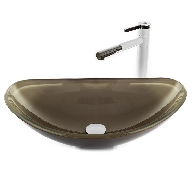 """כיור אמבטיה מונח אובלי זכוכית מוקה 54/36 ס""""מ"""