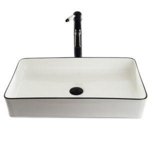 """כיור אמבטיה מונח לבן פס שחור מלבני 60/35 ס""""מ"""