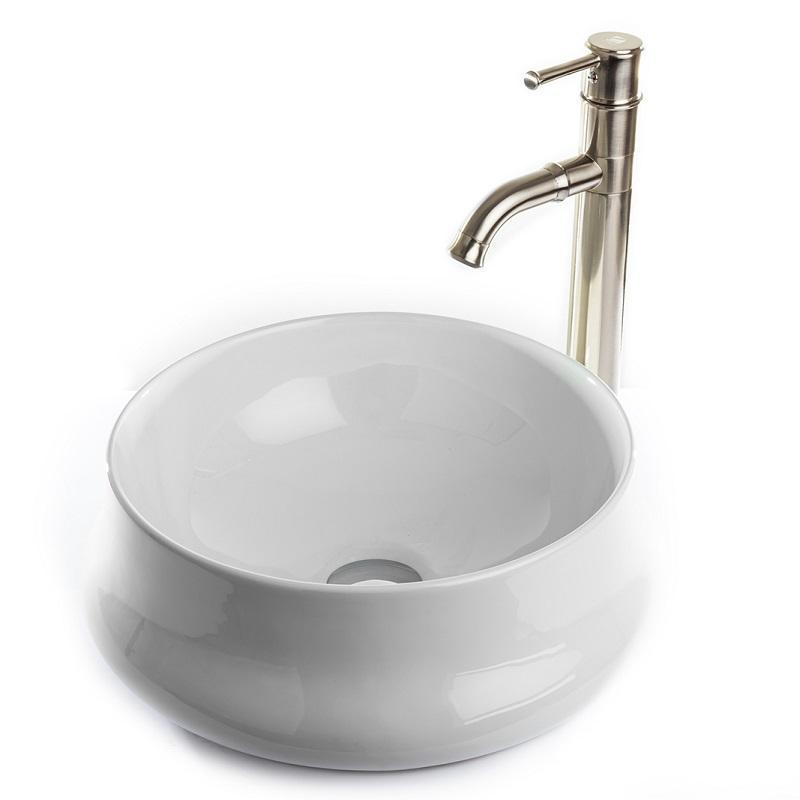 """כיור אמבטיה מונח לבן עגול 41 ס""""מ"""