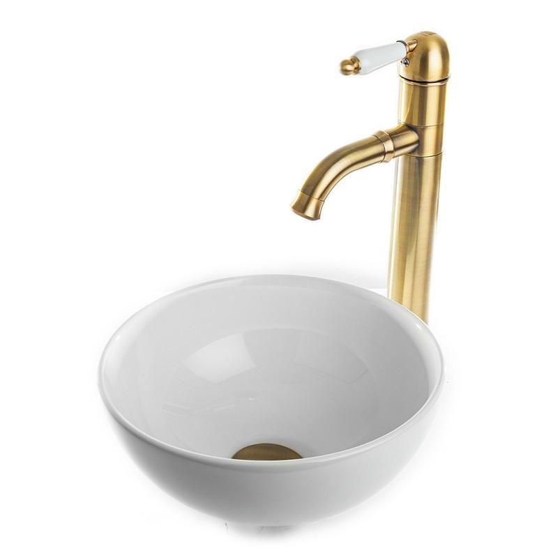 """כיור אמבטיה מונח עגול 28 ס""""מ לבן"""