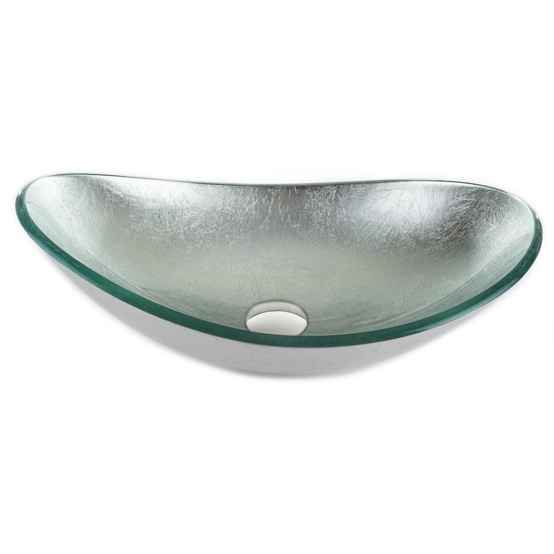 """כיור אמבטיה מונח אובלי זכוכית כסף מקומט 54/36 ס""""מ"""