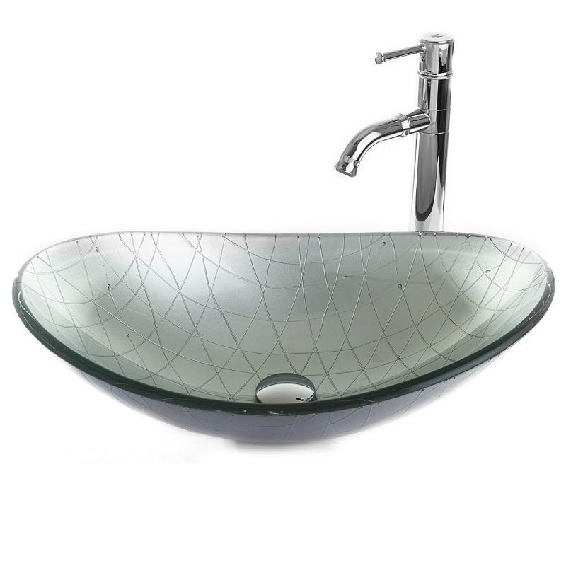 """כיור אמבטיה מונח אובלי זכוכית כסף מעוטר 54/36 ס""""מ"""