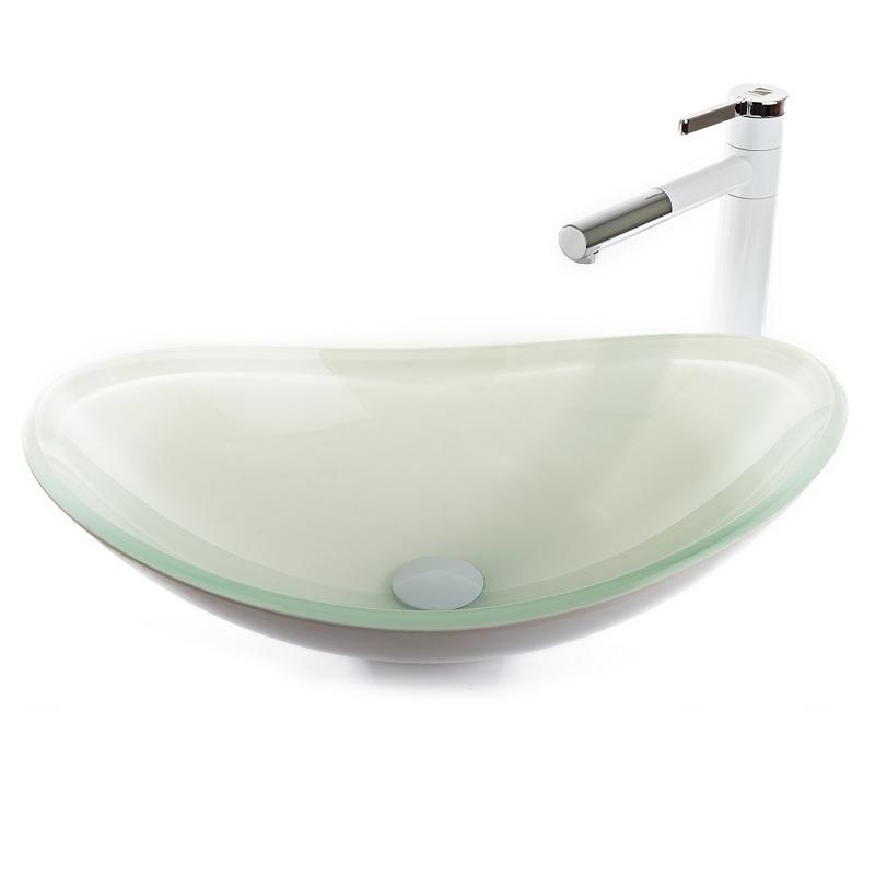 """כיור אמבטיה מונח אובלי זכוכית לבן 54/36 ס""""מ"""