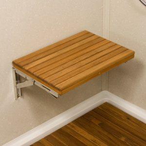 """כסא מתקפל למקלחת עץ טיק ציר נסתר 43/31 ס""""מ"""