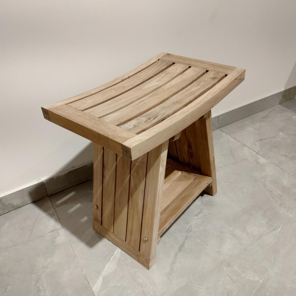 """ספסל למקלחת עץ טיק מלא 45 ס""""מ"""