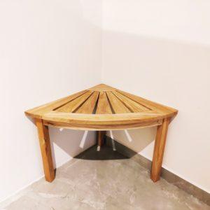 """ספסל פינתי למקלחת עץ טיק מלא 53/53 ס""""מ"""
