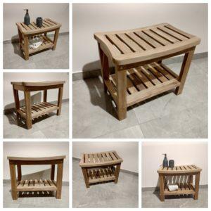 ספסל למקלחת עץ טיק באטיקו