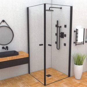 מקלחון פינתי שחור שתי דלתות נפתחות 90 מעלות