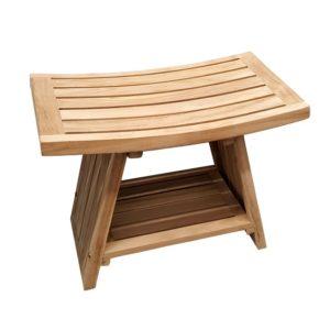ספסל למקלחת 60 ס״מ עץ טיק מלא