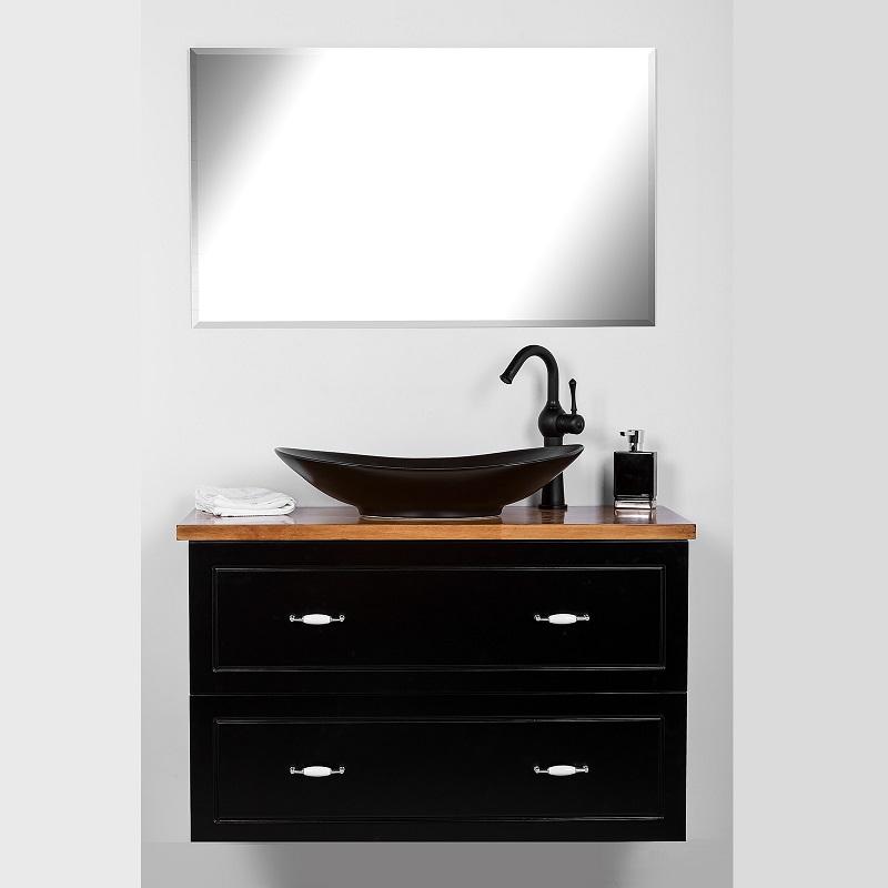 """ארון אמבטיה תלוי פלרמו 80/47 ס""""מ בוציר אפוקסי שחור"""