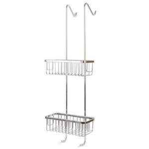 מדף רשת מלבני ניקל תלוי על זכוכית מקלחון