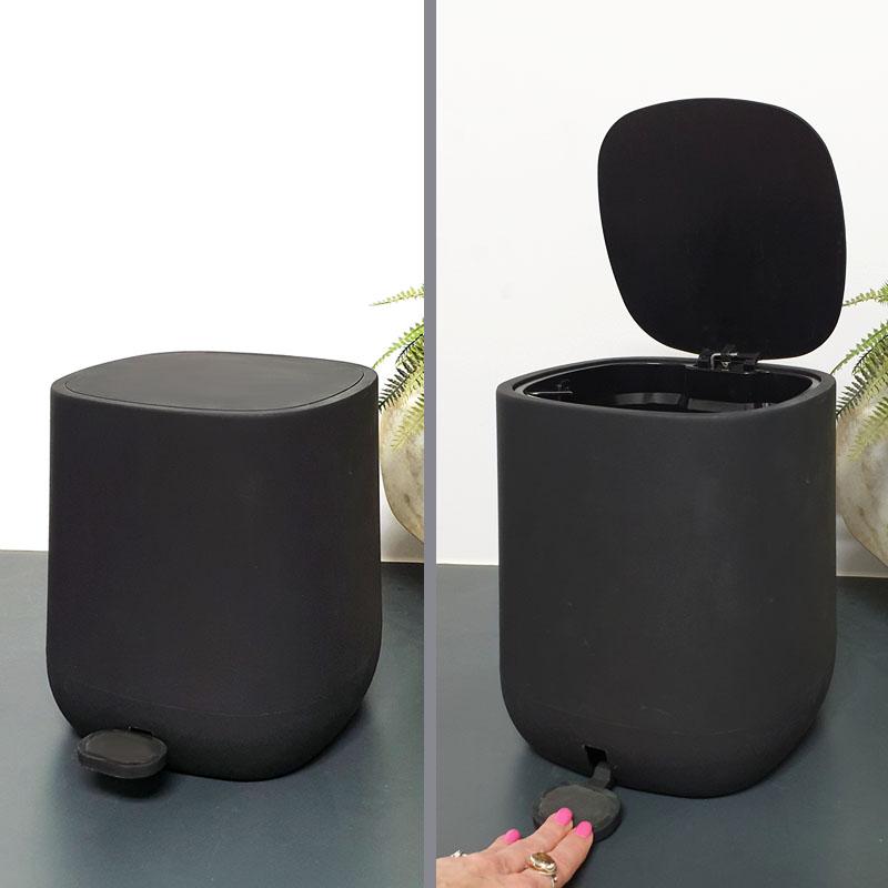 פח אשפה לאמבטיה שחור 5 ליטר מרובע