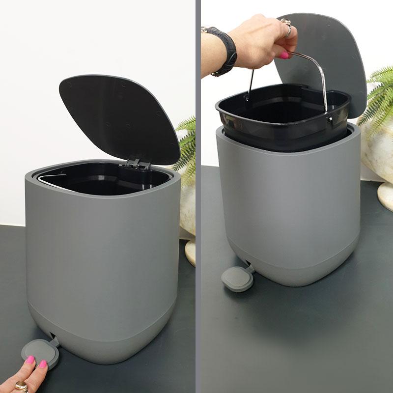 פח אשפה לשירותים אפור מרובע