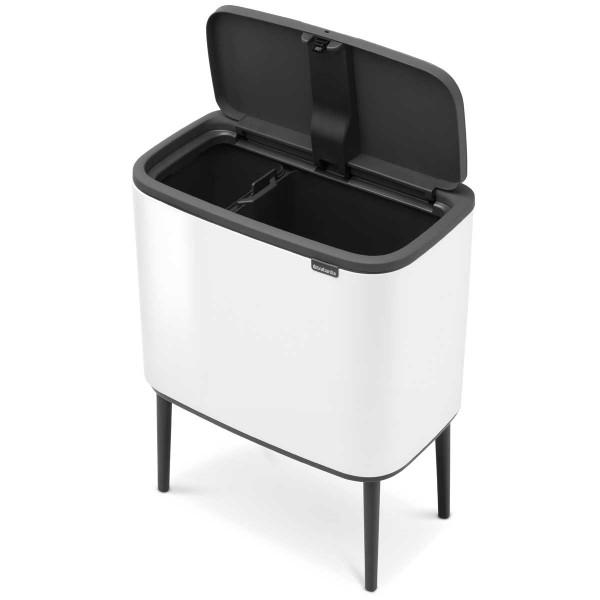 פח אשפה BO למטבח טאץ עם הפרדה פנימית 23+11 ליטר BRABANTIA צבע לבן Y313547