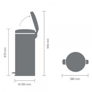 פח פדל למטבח 30 ליטר בטון מינרלי NewIcon Y-119187 באטיקו BATICO 4