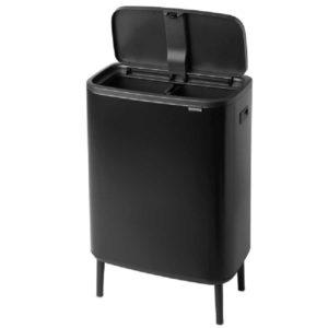 פח אשפה למטבח טאץ עם הפרדה פנימית 30+30 ליטר BRABANTIA צבע שחור Y130625