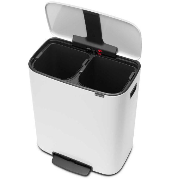 פח אשפה למטבח פדל עם הפרדה פנימית 30+30 ליטר BRABANTIA צבע לבן Y211447
