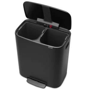 פח אשפה למטבח פדל עם הפרדה פנימית 30+30 ליטר BRABANTIA צבע שחור Y211508