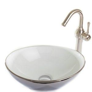 כיור אמבטיה מונח חרס 9450CW לבן וניקל