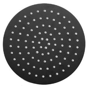 """ראש מקלחת עגול 20 ס""""מ דק במיוחד שחור מט"""