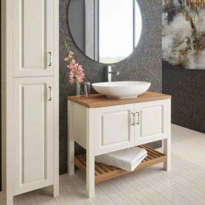 """ארון אמבטיה כפרי אפוקסי בשילוב עץ מלא 100 ס""""מ דגם טירול"""