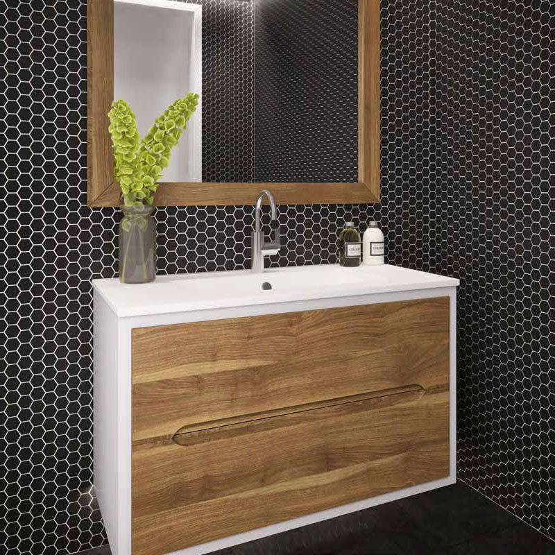 """ארון אמבטיה כפרי תלוי אפקוסי חזיתות עץ מלא 60 ס""""מ דגם ווד"""