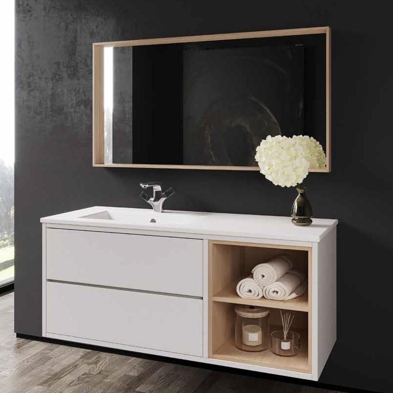 """ארון אמבטיה מודרני אפקוסי בשילוב פורניר 100 ס""""מ דגם ליזה"""